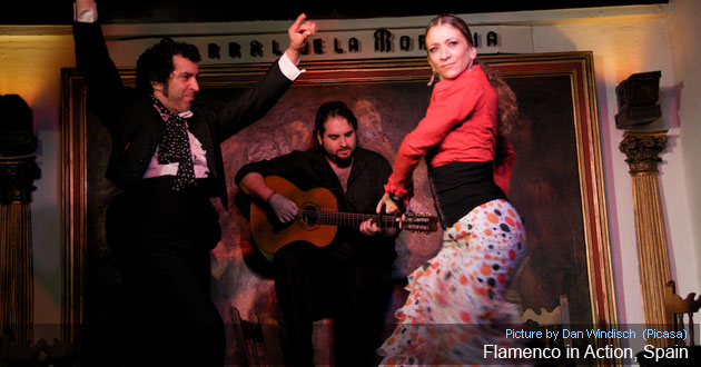 Flamenco music and dancing is popular in Spain